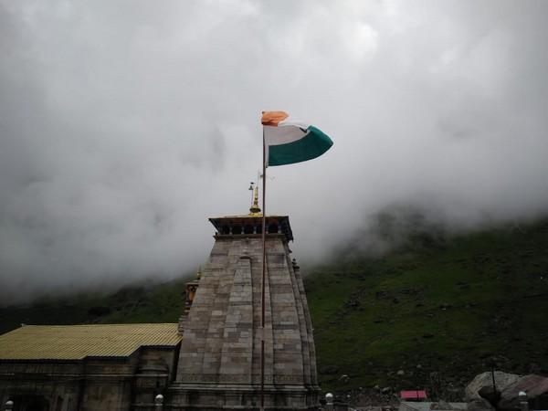 The national flag hoisted at Kedarnath Dham on Independence Day. Photo/ANI