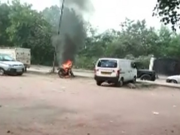 Man sets bike on fire after it was towed away by police. Photo/ANI