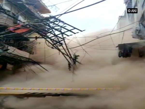 Collapsed three-story building at Sadar Bazar