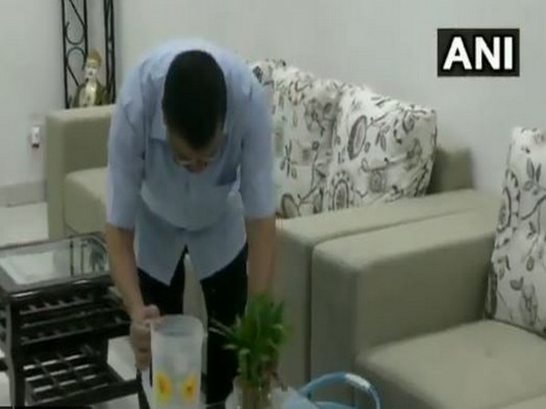Delhi Chief Minister Arvind Kejriwal participates in the awareness campaign on dengue. (Photo/ANI)