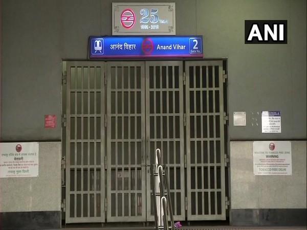 Gates of Anand Vihar metro station closed on Sunday during Janta Curfew. Photo/ANI