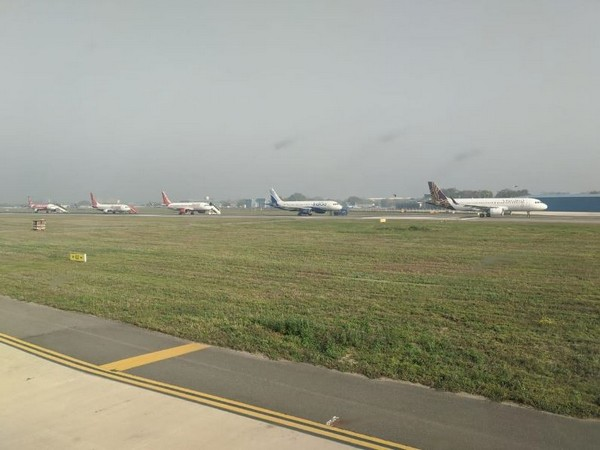 Planes parked at Delhi's IGI airport
