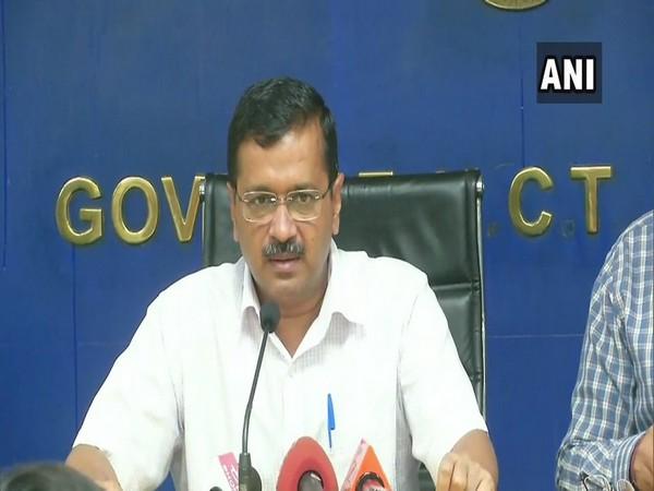 Delhi Chief Minister Arvind Kejriwal addressing reporters in Delhi on Thursday