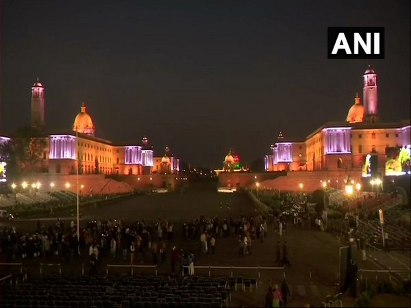 Vijay Chowk, the venue of Beating Retreat ceremony is all lit up