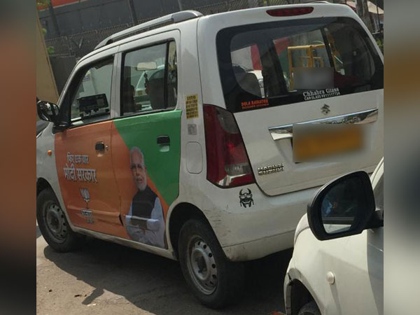 The image of a taxi which has been shared by AAP to back its claims of political advertising on commercial vehicles
