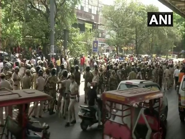 Visual of police deployed in Delhi's Tilak Nagar (Photo/ANI)