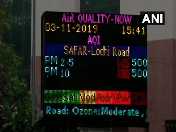 The air pollution levels in Lodhi Road area remain at 500 in the 'severe' category on Sunday afternoon.