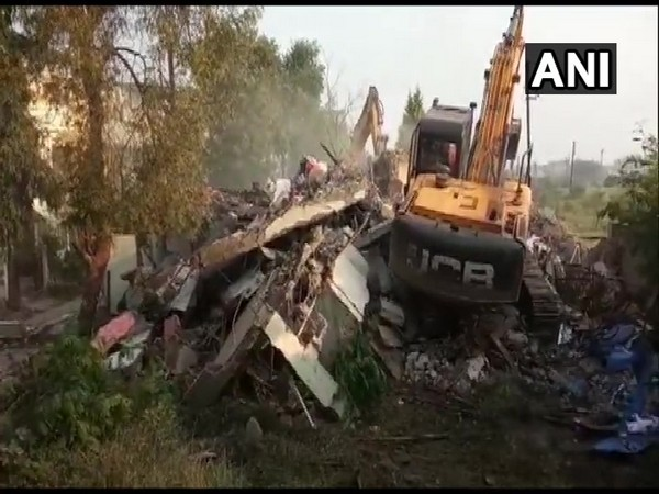 The demolition work carried out by the Indore Municipal Corporation on Monday. Photo/ANI