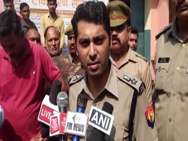Senior Superintendent of Police Dinesh Kumar talking to reporters on Saturday. Photo/ANI