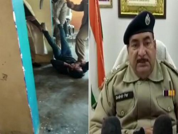 In a video, police personnel can be seen thrashing a man, accused of stealing a mobile phone (Left), SP Shripati Mishra (Right) ordered suspension.