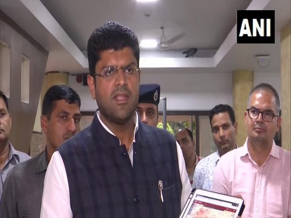 Haryana Deputy Chief Minister Dushyant Chautala speaks to reporters on Tuesday. (Photo/ANI)