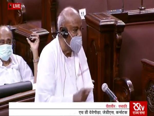 Former Prime Minister HD Deve Gowda speaking in the Rajya Sabha on Tuesday.