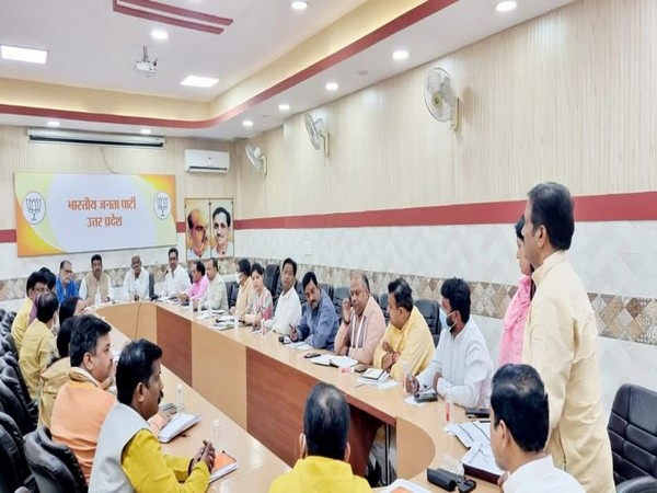 BJP's Uttar Pradesh Election in-charge Dharmendra Pradhan during meeting.