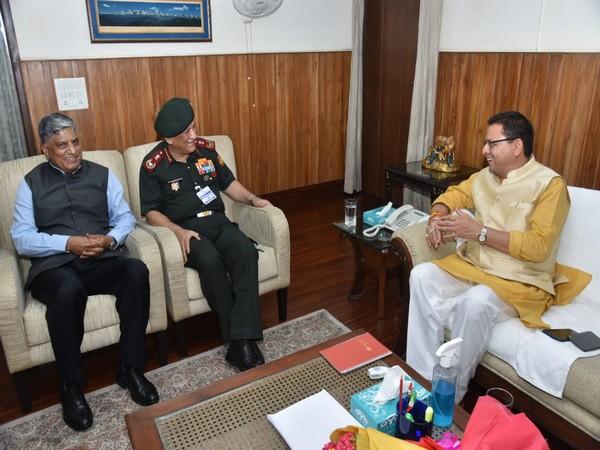CDS General Bipin Rawat and Chief of NTRO Anil Dhasmana with Uttarakhand CM Pushkar Singh Dhami.