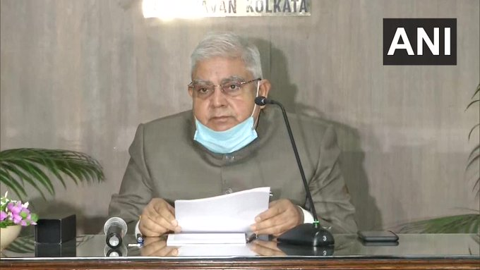 West Bengal Governor Jagdeep Dhankhar addressing a press conference in Kolkata on Wednesday.