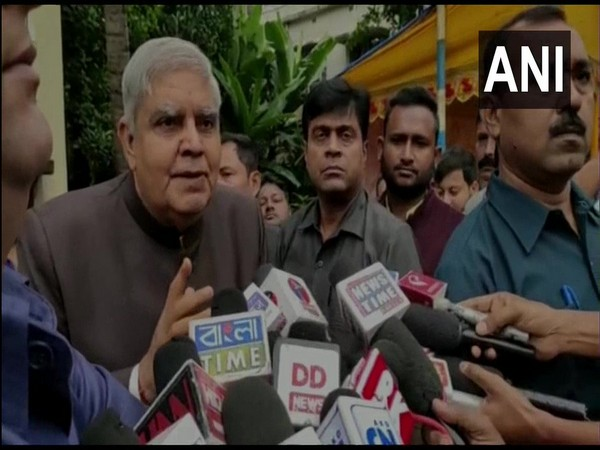 West Bengal Governor Jagdeep Dhankhar speaking to media persons on Saturday. (Photo/ANI(