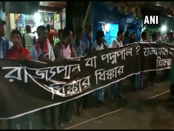 'Shame Shame Governor' posters shown to West Bengal Governor Jagdeep Dhankhar in Howrah on Saturday.