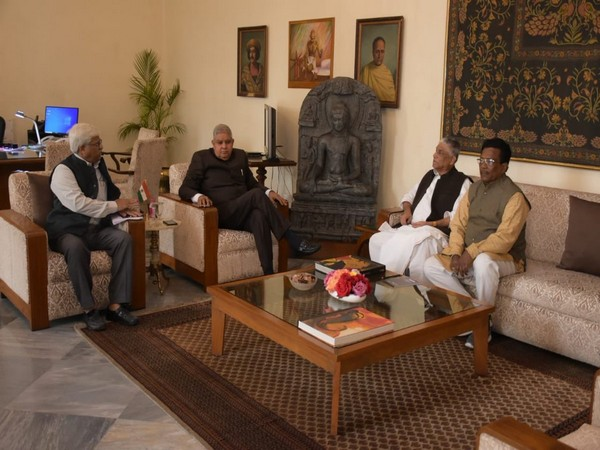 West Bengal Governor Jagdeep Dhankhar meeting with leaders of different political parties in Kolkata on Tuesday.
