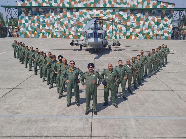 IAF team led by ACM BS Dhanoa at the Sarsawa IAF base on Tuesday, Photo/ANI
