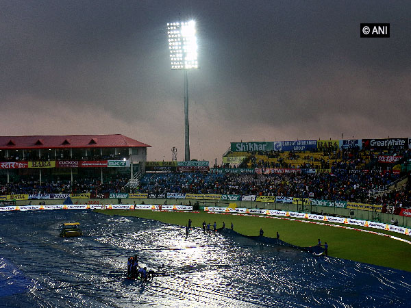 A view of Dharamshala stadium on Sunday evening where the match between India and South Africa was called off due to inclement weather.