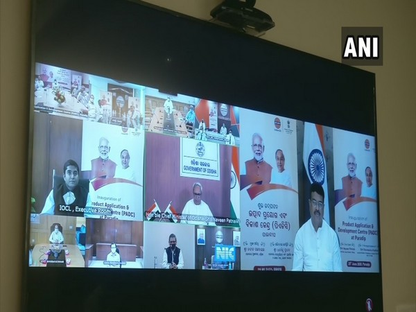 Virtual Inauguration of Product Application and Development Centre (PADC) in Paradip, Odisha on Thursday. (Photo/ANI)