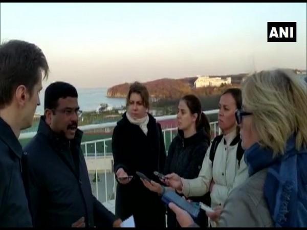 Union Minister Dharmendra Pradhan speaking to reporters in Vladivostok on Wednesday.