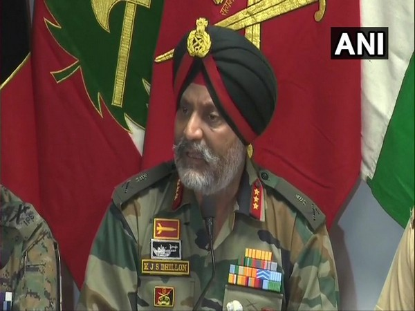 Chinar Corps Commander Lt General KJS Dhillon speaking to reporters in Srinagar on Friday.