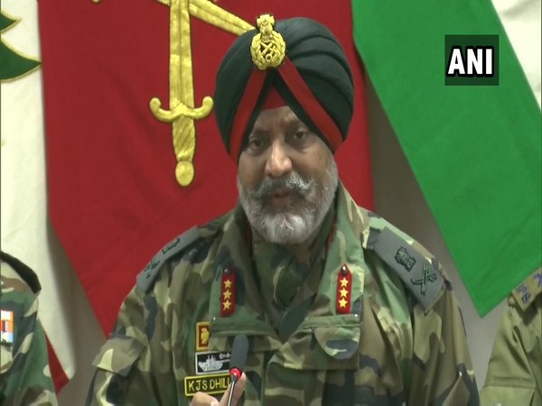 Chinar Corps Commander Lt General KJS Dhillon speaking at a press conference in Srinagar on Saturday. Photo/ANI