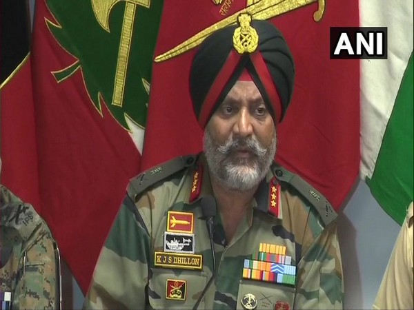 Chinar Corps Commander Lt General KJS Dhillon during the joint presser in Srinagar on Friday.
