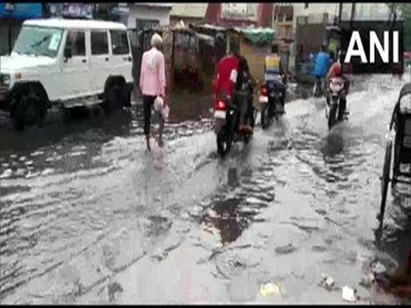 Rainfall caused water-logging in parts of Dholpur, Rajasthan on Thursday. (Photo/ANI)