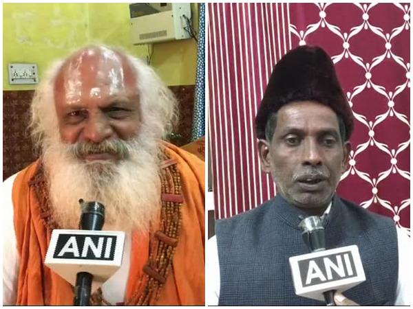 Mahant Dharam Das (L) and Iqbal Ansari (R) speaking to ANI on Monday in Ayodhya