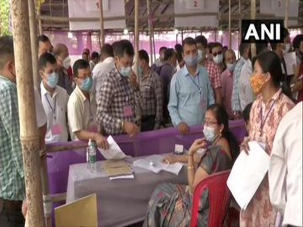 A visual of preparations in Dibrugarh on Friday ahead of first phase of Assam Assembly polls. (Photo/ANI)