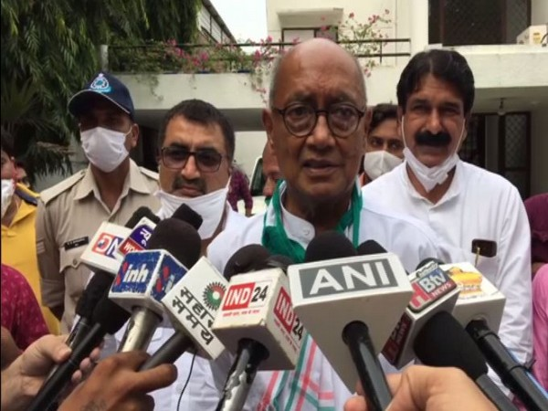 Congress leader Digvijaya Singh speaking to media in Indore on Friday. (Photo/ANI)