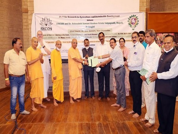 Dignitaries of ISKCON and DBSKKV university after signing the MoU at Govardhan Ecovillage