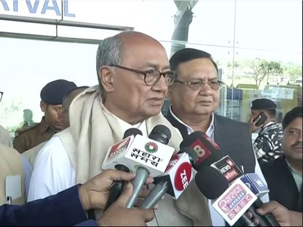 Congress leader Digvijay Singh speaking to reporters in Raipur on Wednesday. Photo/ANI
