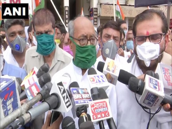 Congress leader Digvijaya Singh speaking to reporters in Bhopal on Wednesday. Photo/ANI
