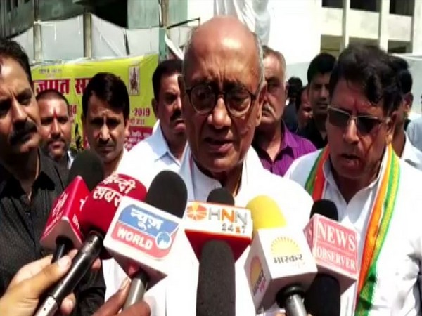 Congress leader Digvijaya Singh speaking to reporters in Bhopal on Tuesday. Photo/ANI