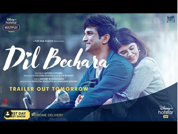 'Dil Bechara' new poster featuring late actor Sushant Singh Rajput and actor Sanjana Sanghi (Image source: Instagram)