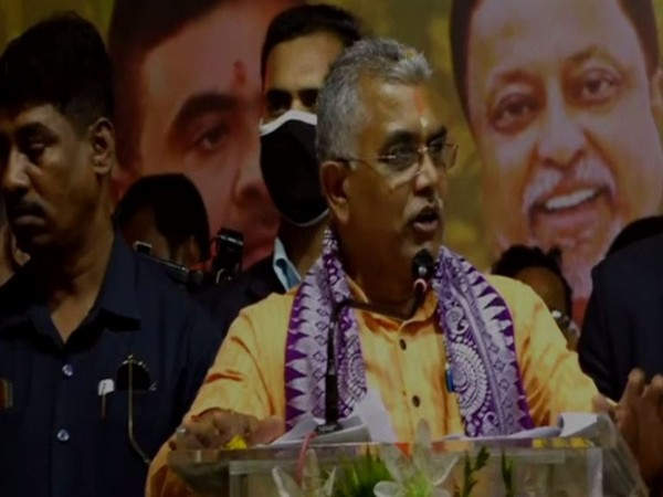 BJP West Bengal president Dilip Ghosh addressing a public meeting in Purba Medinipur on Friday [Photo/ANI]