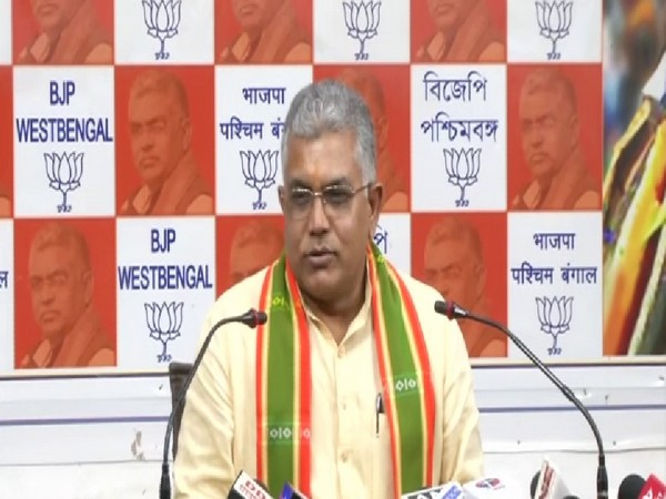West Bengal BJP President Dilip Ghosh in a press meet in Kolkata. Photo/ANI