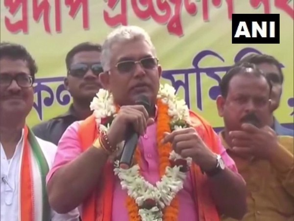 West Bengal BJP unit president Dilip Ghosh speaking at an event in Burdwan on Monday.