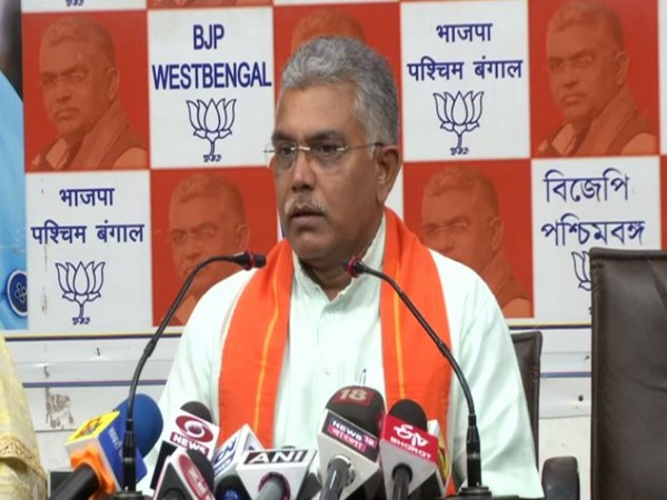 BJP West Bengal president Dilip Ghosh addressing a press conference in Kolkata on Friday. (Photo/ANI)
