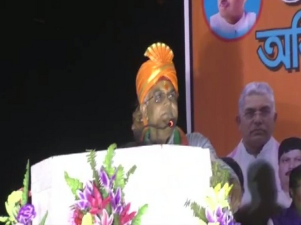 West Bengal BJP president Dilip Ghosh addressing a public gathering in North 24 Pargana, West Bengal on Sunday. Photo/ANI