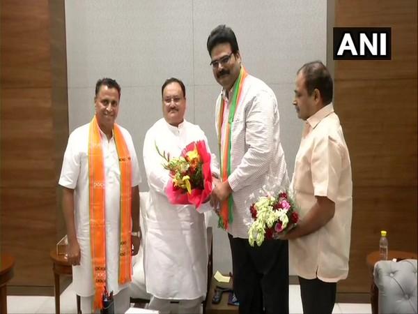 Lanka Dinakar with BJP working president JP Nadda in New Delhi.