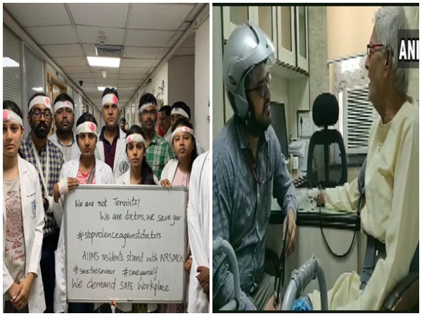 The AIIMS doctors while protesting against worsening of violence against medical doctors in West Bengal on Thursday in New Delhi. (Photo: ANI)
