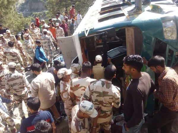 Visuals of the bus overturned in Doda, Jammu and Kashmir.
