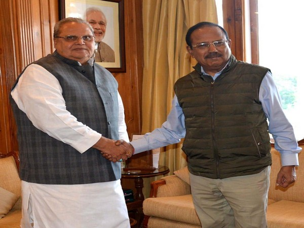 National Security Advisor Ajit Doval meets Governor Satya Pal Malik at Raj Bhavan in Jammu and Kashmir on Tuesday. (Photo/ANI)