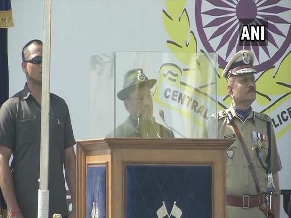 NSA Ajit Doval speaking at 80th CRPF Anniversary Parade in Gurugram, Haryana, on Tuesday.
