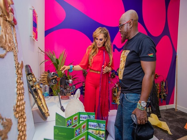 Rasha Kelej, CEO of Merck Foundation with Nana Kwabena Anoff, African Artist in Sustainable Art