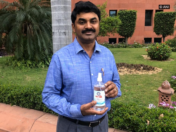 DRDO Chairman Dr G Satheesh Reddy with DRDO-made hand sanitiser in New Delhi. Photo/ANI